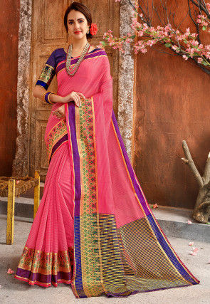 Woven Cotton Silk Saree in Pink