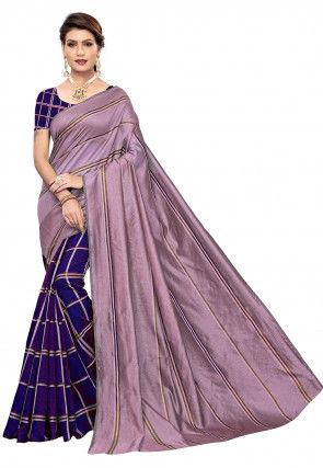 Woven Cotton Silk Saree in Purple and Dark Blue