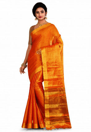 Woven Cotton Silk Saree in Red and Golden