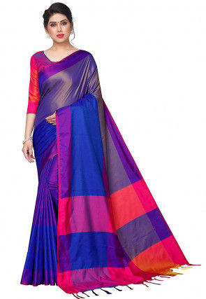 Woven Cotton Silk Saree in Royal Blue and Purple