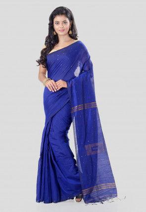 Woven Cotton Silk Saree in Royal Blue