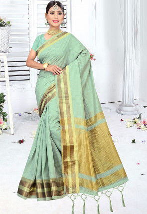 Woven Cotton Silk Saree in Sea Green