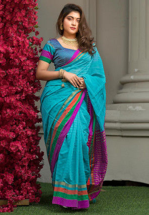 Woven Cotton Silk Saree in Teal Blue