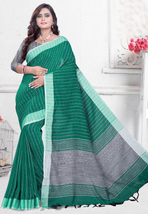 Woven Cotton Silk Saree in Teal Green