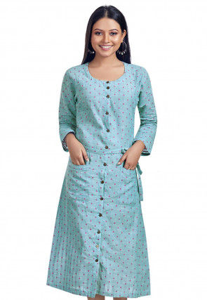Woven Cotton Slub Dress in Light Blue