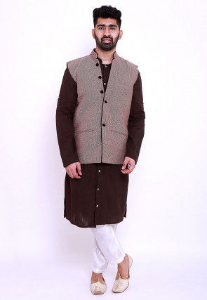 Woven Cotton Slub Kurta Jacket Set in Brown and Wine