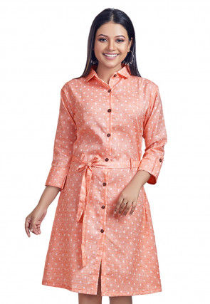 Woven Cotton Slub Tunic in Peach