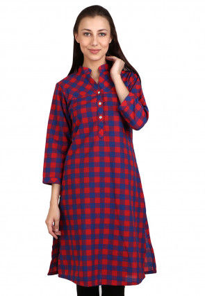 Woven Cotton Straight Kurta in Red and Blue