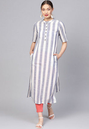 Woven Cotton Straight Kurta in White and Blue