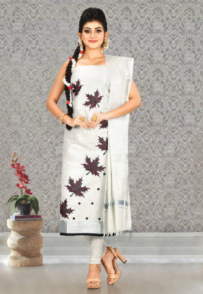 Woven Cotton Straight Suit in Silver