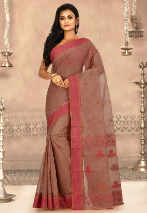 Woven Cotton Tant Saree in Beige and Red