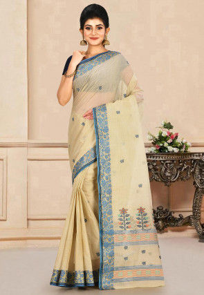 Woven Cotton Tant Saree in Beige