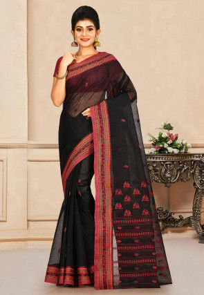 Woven Cotton Tant Saree in Black