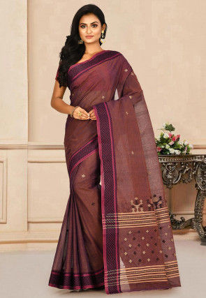 Woven Cotton Tant Saree in Brown and Blue