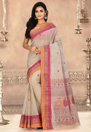 Woven Cotton Tant Saree in Fawn