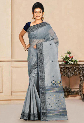 Woven Cotton Tant Saree in Grey