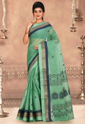 Woven Cotton Tant Saree in Light Green