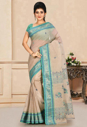 Woven Cotton Tant Saree in Light Grey