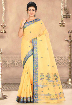Woven Cotton Tant Saree in Light Yellow