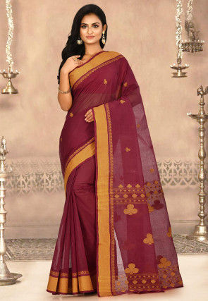 Woven Cotton Tant Saree in Maroon