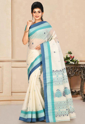 Woven Cotton Tant Saree in Off White