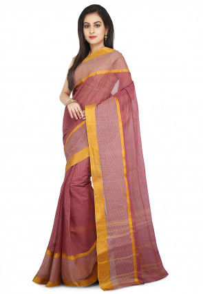 Handloom Cotton Tant Saree in Old Rose