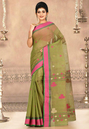 Woven Cotton Tant Saree in Olive Green