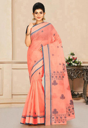 Woven Cotton Tant Saree in Peach