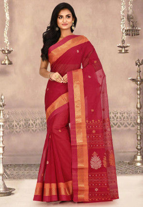 Woven Cotton Tant Saree in Red