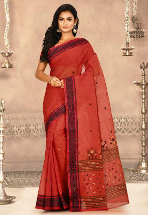 Woven Cotton Tant Saree in Rust