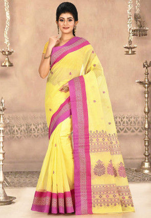 Woven Cotton Tant Saree in Yellow
