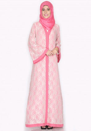 Woven Crepe Front Open Abaya in Pink