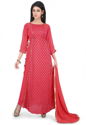 Woven Crepe Jacquard Abaya Style Suit in Coral Red