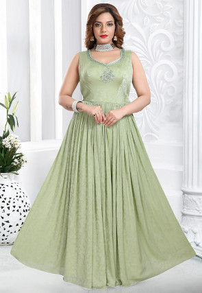 Woven Crepe Jacquard Flared Gowns in Pastel Green