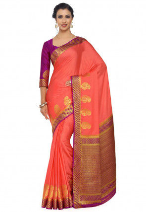Woven Crepe Jacquard Saree in Dark Peach Orange