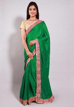 Woven Crepe Jacquard Saree in Green