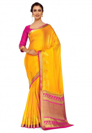 Woven Crepe Jacquard Saree in Yellow