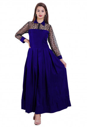 Woven Crepe Pleated Dress in Royal Blue and Black