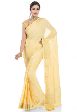 Woven Crepe Saree in Light Yellow