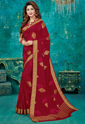 Woven Crepe Saree in Maroon