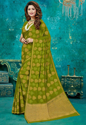 Woven Crepe Saree in Olive Green