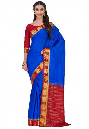 Woven Crepe Saree in Royal Blue
