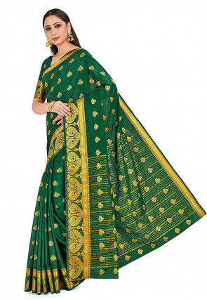 Woven Crepe Silk Saree in Dark Green