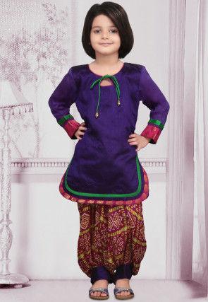 Woven Dupion Punjabi Suit in Purple