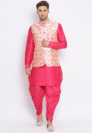 Woven Dupion Silk Dhoti Kurta in Coral Pink