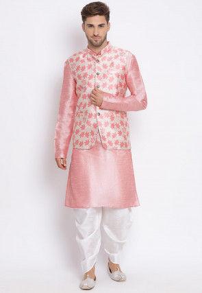 Woven Dupion Silk Dhoti Kurta in Pink