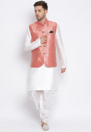 Woven Dupion Silk Dhoti Kurta in White