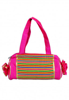 Woven Dupion Silk Hand Bag in Multicolor and Fuchsia