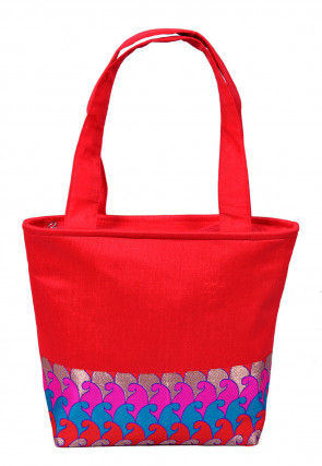 Woven Dupion Silk Hand Bag in Red