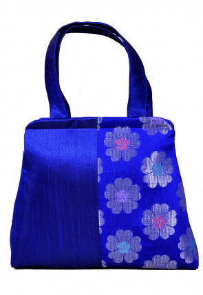 Woven Dupion Silk Hand Bag in Royal Blue